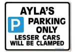AYLA'S Personalised Parking Sign Gift | Unique Car Present for Her |  Size Large - Metal faced